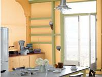 peinture cuisine couleur toscane et vert d'eau nuancier Dulux Valentine