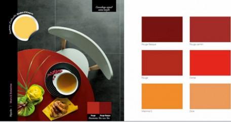 decoration cuisine, carrelage mural aspect acier oxydé, table bois peinte en rouge, chaise blanche Nuancier peinture Ripolin