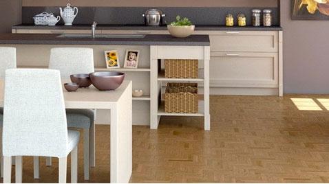meubles de cuisine facades finition blanc laque, meuble de rangement avec panier en osier, table et chaises blanche