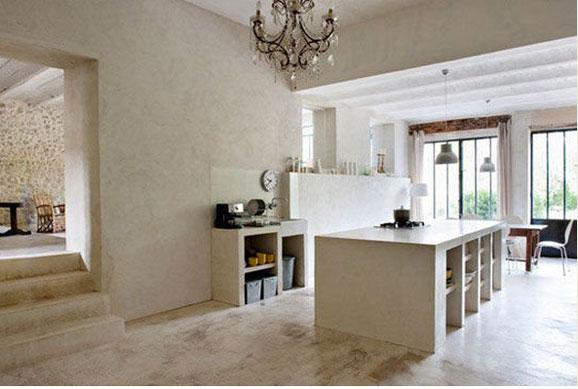 D coration cuisine lot et meubles b ton peinture couleur lin - Decoration marbre salon ...