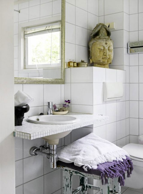 Decoration Toilette Design Avec Carrelage Au Sol Gris Clair