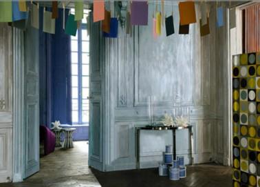 D co salon avec patine couleur gris reflet nacr ressources - Peinture effet blanchi ...