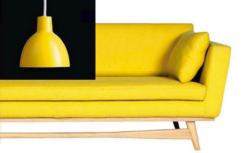 decoration salon design canpe cuir suspension couleur jaune curry. Black Bedroom Furniture Sets. Home Design Ideas