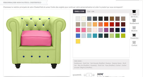 fauteuil à personnaliser avec l'usine a design-voir le resultat de la personnalisation avant de valider