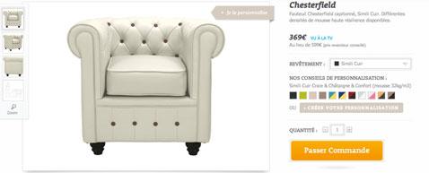 fauteuil et canape à personnaliser avec l'usine à design choisir la couleur du fauteuil, la qualité du confort, la couleur des boutons