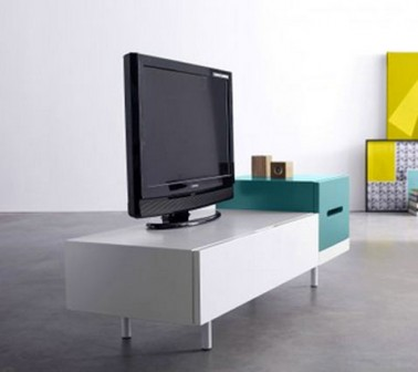 Meuble tv vid o bicolore collection kolorcaz 3suisses for Design suisse meuble