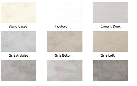 Pour patiner un meuble ou un mur, nuancier 9 teintes (blanc cassé, Ciment doux, gris Ardoise, Béton, Loft...de la collection Caresse du Temps de Maison décorative.