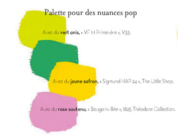 palette couleur pop pour associer vert rose jaune. Black Bedroom Furniture Sets. Home Design Ideas
