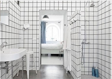 relooker salle de bain avec carrelage mural blanc joints noir. Black Bedroom Furniture Sets. Home Design Ideas