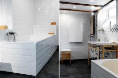 Salle de bain carrelage blanc sur murs et tablier baignoire - Tablier salle de bain ...