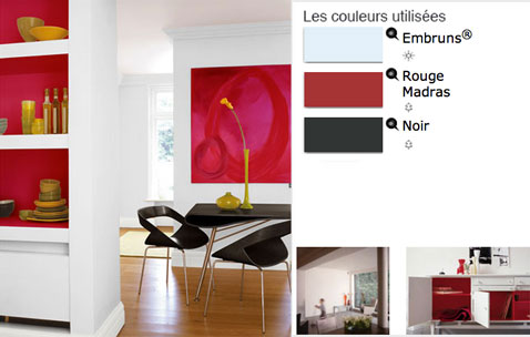 peinture salle manger en contraste de rouge et blanc. Black Bedroom Furniture Sets. Home Design Ideas