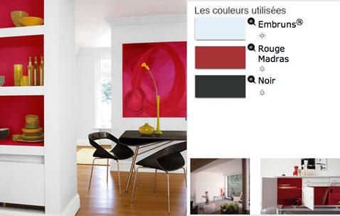 Peinture Salle  Manger En Contraste De Rouge Et Blanc