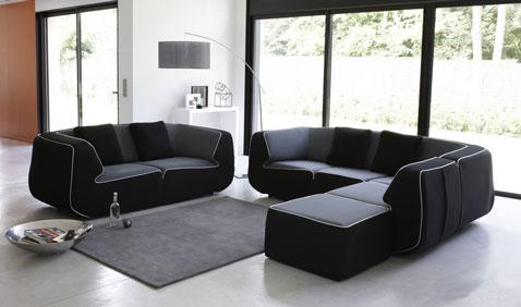 canapé en tissu nettoyage facile à completer avec pouf et fauteuil d'angle Bump chez Made in design