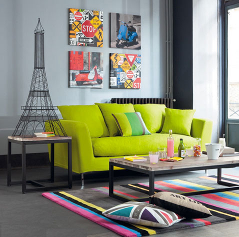 canap tissu vert anis 3 places dublin maisons du monde. Black Bedroom Furniture Sets. Home Design Ideas