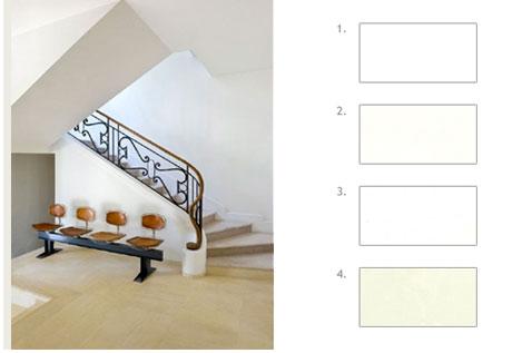 Couleur peinture entr e et escalier en harmonie de blancs for Couleur peinture entree
