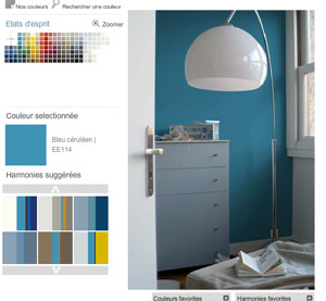 Pour la couleur de peinture chambre, choisir dans le nuancier la couleur, ici un bleu céruléen, puis choisissez les autres couleurs à associer parmi les harmonies de couleurs proposées par Tollens