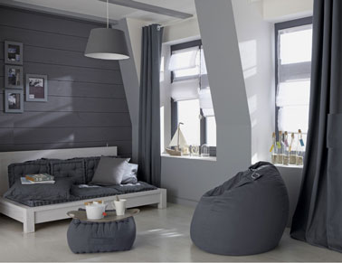 couleur peinture salon degrade de gris clair et gris galet leroy merlin. Black Bedroom Furniture Sets. Home Design Ideas