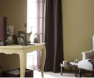 Couleur salon harmonie de peinture couleur chocolat lin et ivoire leroy merlin for Peinture harmonie des couleurs