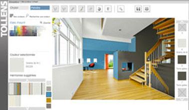 Simulation couleur peinture dans un salon. Escalier et ilot central couleur taupe terre d'ombre, associé à un bleu neptune dans la salle à manger et à un graine de lin pour la peinture plafond et du salon