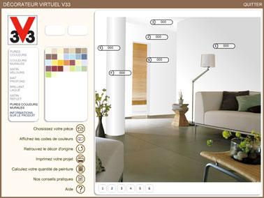 Construire ses harmonies de couleurs peinture pour le salon facilement avec le decorateur de V33