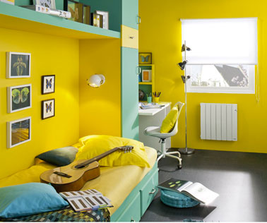 Décoration chambre ado peinture murale jaune serin et vert jade ...