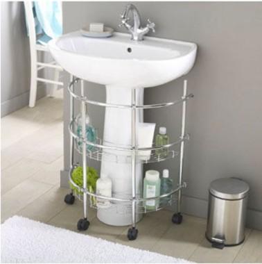 Meuble tag res sous lavabo avec roulettes la redoute for Fabriquer un meuble sous lavabo