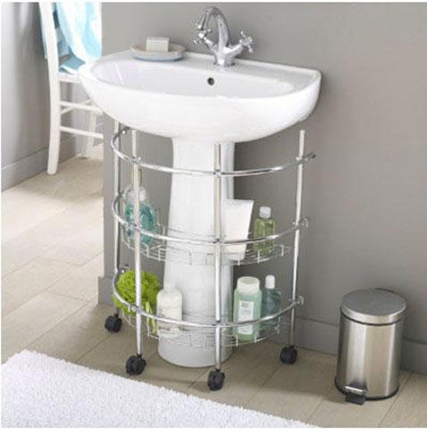 meuble etagere de rangement pour salle de bain monte sur roulette structure tube acier