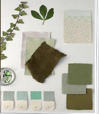Pour créer une ambiance zen et ecolo autour des carreaux de cuir couleur pistache, olive et glacier de chez Cuir au Carré