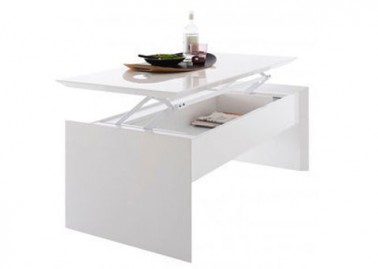 Table basse de salon modulable plateau relevable fly - Meuble gain de place pour studio ...
