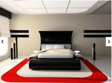 tapis de chambre r alis avec peinture pour sol rouge blanc. Black Bedroom Furniture Sets. Home Design Ideas