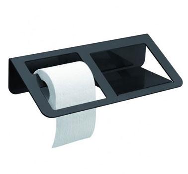 Distributeur de papier toilette composé d'un compartiment dérouleur et d'une tablette bien pratique. Trois couleur disponible : gris, noir et blanc
