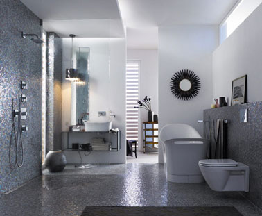 salle de bain douche italienne carrelage gris peinture blanche. Black Bedroom Furniture Sets. Home Design Ideas
