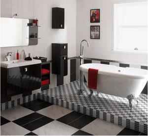 Salle de bains carrelage sanitaire meubles noir et blanc - Meuble salle de bain noir et blanc ...