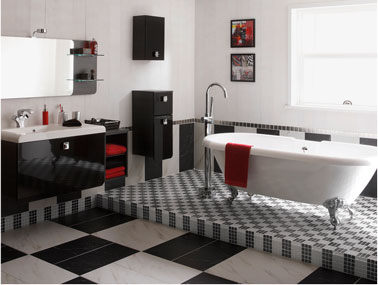 salle de bains en noir et blanc carrelage leroy merlin. Black Bedroom Furniture Sets. Home Design Ideas
