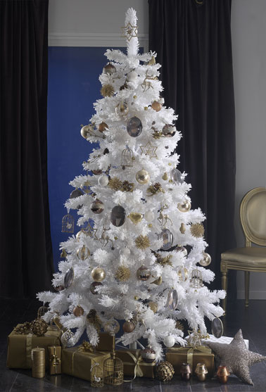 sapin decoration or et blanc