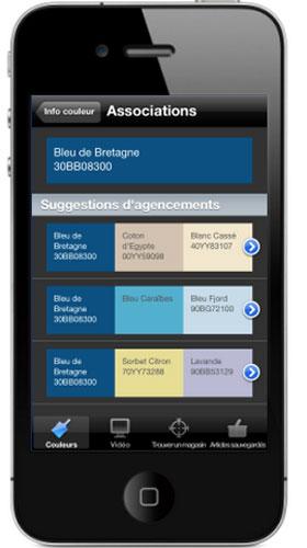Après avoir sélectionné la couleur bleu de Bretagne, découvrez les harmonies de couleurs proposées par les peintures Dulux valentine