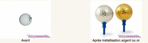 Balle de golf métallisé au choix en plaqué or, argent, bronze ou étain chez Shinymémories