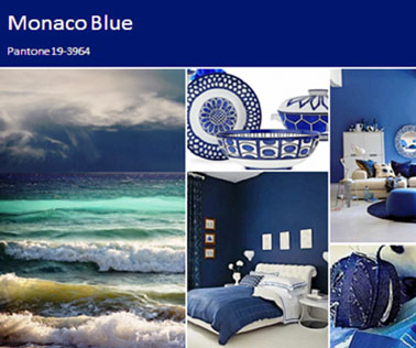 pour la décoration de la maison, la couleur tendance pour 2013 est le bleu dit Monaco Blue de Pantone