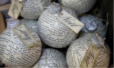 Une bonne idée pour relooker les boules de Noël de l'an dernier, les habiller de papier journal verni et de paillettes