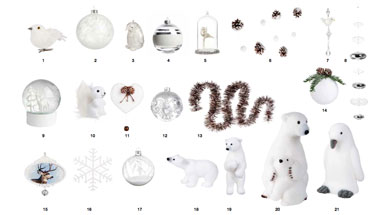 Collection decoration sapin noel blanches et argent maison - Guirlande maison du monde ...