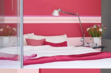 une chambre rose et une touche de gris c'est frais, gai et idéal pour une atmosphère féminine.