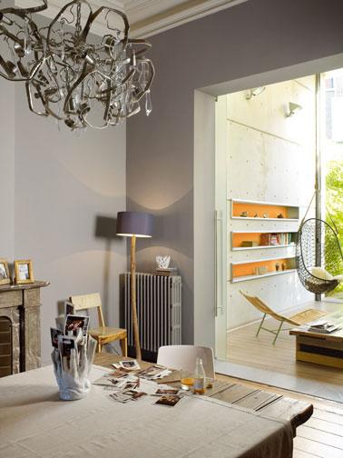Couleur salle a manger salon peinture gris et orange astral - Harmonie couleur salon ...
