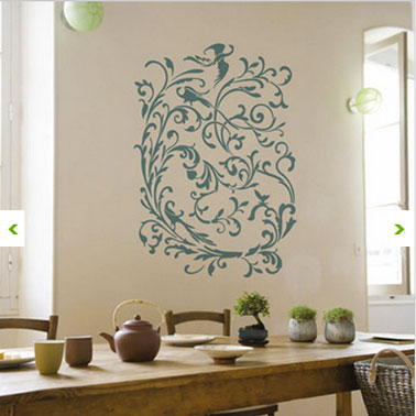 Cuisine decoration murale pochoir adhesif boheme chic for Decor mural adhesif