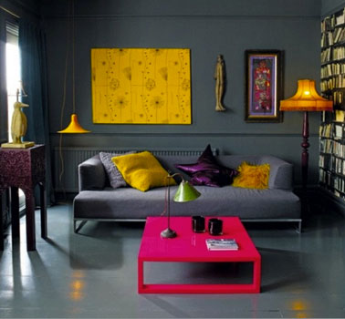 decoration salon couleur gris er noir et couleur flashy fushia jaune. Black Bedroom Furniture Sets. Home Design Ideas
