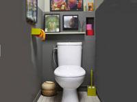 Pour la déco de ces WC, sobriété de la couleur pour les murs avec une peinture gris anthracite qu'animent les touches de couleurs vives apportées par les accessoires WC d'un vert flashy et les rouleaux de papier toilette de couleurs vives