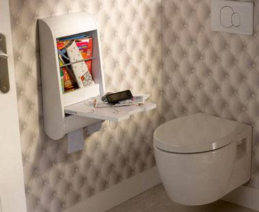 Papier peint wc trompe l 39 oeil capitonn et meuble leroy merlin for Meuble mural rangement toilette