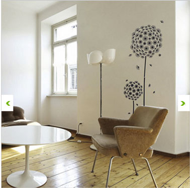 craquez pour un sticker mural g ant dans le salon la chambre d co cool. Black Bedroom Furniture Sets. Home Design Ideas