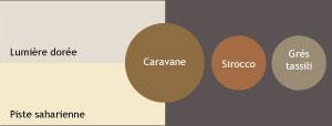 Nuancier couleur peinture V33. Palette de couleurs chaudes évoquant les grandes étendues naturelles