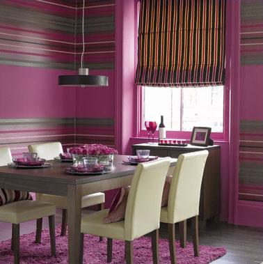 D co salle manger papier peint rayures rose gris et taupe - Papier peint pour salon et salle a manger ...