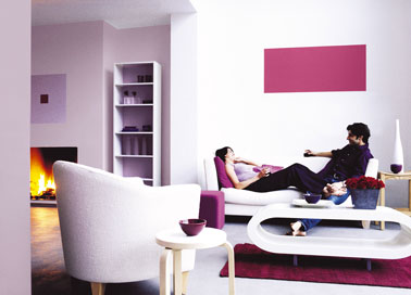 Salon couleur blanc et rose meubles design peinture astral for Couleur design salon